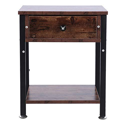 GOTOTOP Mesita de noche de madera industrial vintage con cajones, mesilla de noche para dormitorio, elegante, patas ajustables, 40 x 34 x 50 cm