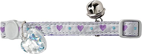 HUNTER PURPLE HEART Katzenhalsband, Nylon, Sicherheitsverschluss, Adressanhänger, violett