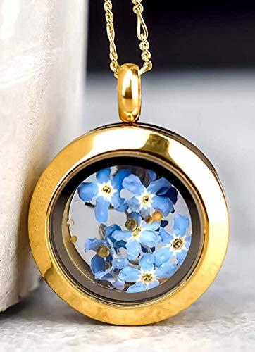 Medaillon mit echten Vergissmeinnicht Blüten - inkl. Kette 50 cm - 925/18k Vergoldet