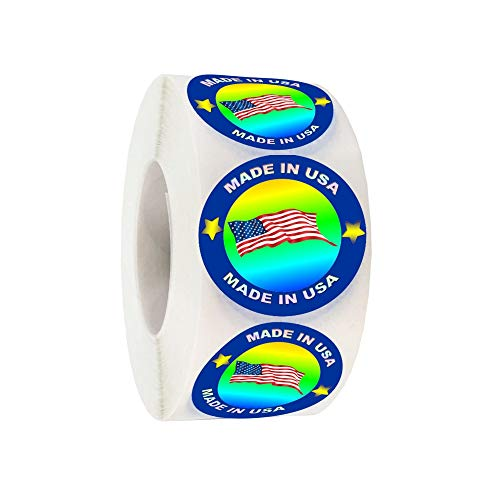 'Made in USA' Hologram Flag Labels 1-Inch Round American Flag Stickers, 2 Colors (Blue and Red) Glossy Silver Metalized, 500 PCS Per Roll US Flag Sticker for Product and Package Labeling (1 Roll)