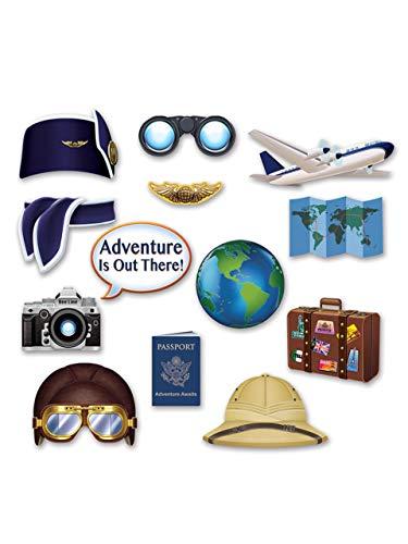 Generique - Kit photobooth 13 Accessori Tema Viaggio Taglia Unica