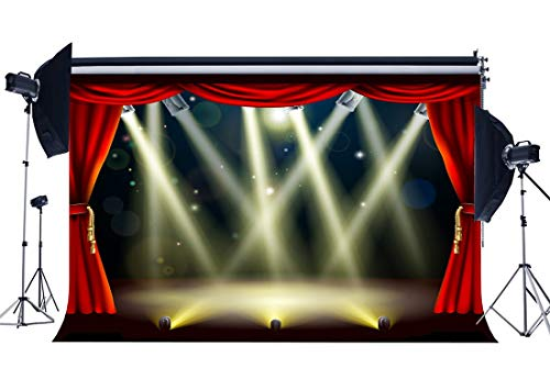 EdCott Vinilo 7X5FT Luces Escenario Hollywood Telón Fondo Cortina roja Bokeh Brillo Lentejuelas Teatro Fotografía Fondo para niños Escuela Mostrar Adultos Decoración Fiesta Papel Tapiz Foto Estudio