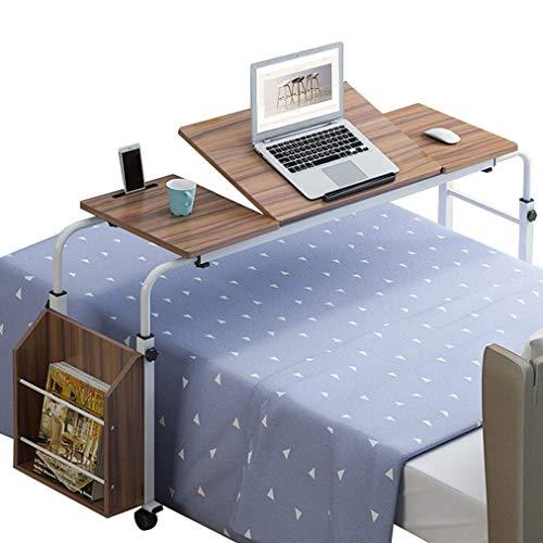 Klapptisch Überbetttisch, Rollbarer Aufbewahrungswagen Mobiler Computertisch Über Betttisch Computerarbeitsplatz Laptop-Schreibtisch Verstellbarer Schreibtisch mit Rad und kippbarer Tischplatte