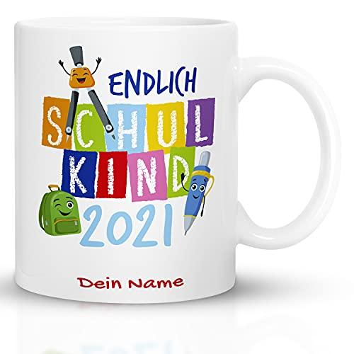 Kaffeebecher24 - Geschenk zur Einschulung Junge und Mädchen - Personalisiert mit Name - Spülmaschinenfest - Geschenke Einschulung - Schulkind Tasse (Neutral)