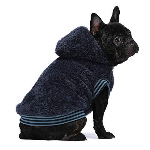 Fitwarm Fuzzy Thermal Dog Coats Winter Clothes Pet Jackets Hoodie Cat Sweatshirts Velvet Blue Medium