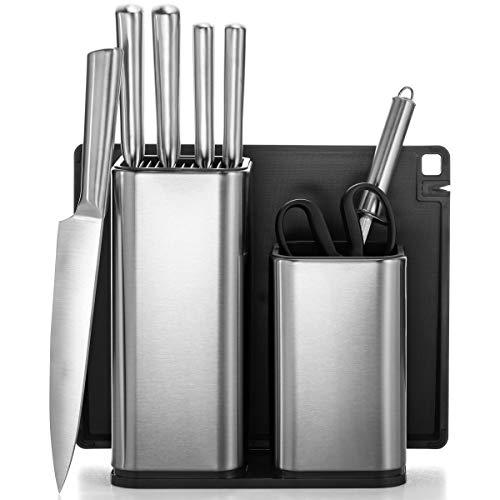 All-Inclusive 10-Piece Kitchen Knife Set with Block & Utensil Holder - 5 Stainless Steel Knives - Knife Sharpener - Kitchen Scissors - Chopping Board - Knifes & Utensils Storage, Universal Knives Set