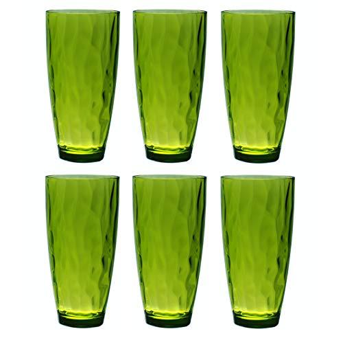 QG 23 Ounce Acrylic Plastic Iced Tea Cup Glass Tumbler Set of 6 Green DF131-GN6P