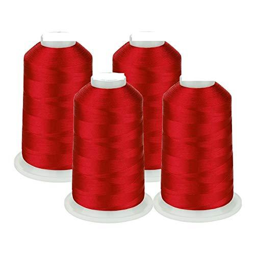 QFDM Lightweight and Durable Sewing Thread 4 bobines énormes Thread Machine de Broderie Rouge 5500Y Fil de Polyester pour la Plupart des Machines à Coudre à la Maison Many Colors are Available