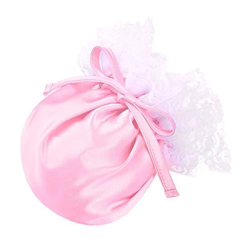Agoky Herren Sissy String Dessous Blumenspitze Elastischer Kordelzug Satin Männer Bulge Pouch Weicher Beutel Mini Slip Unterwäsche Rosa One Size