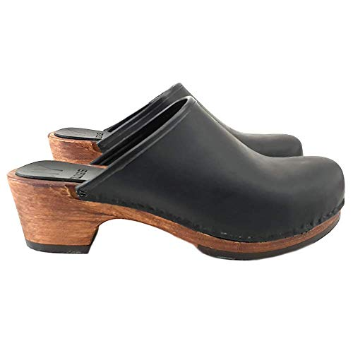 Kiara Shoes Zoccoli Olandesi Classici - Cuoio Marrore/Nero Made in Italy - MY-573 (35 EU, Nero)