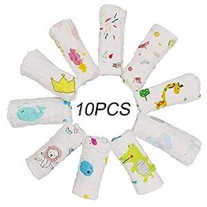 ViVidLife Toalla Facial Infantil, 10 PCS Toalla De Gasa Bebe Toallas Paños de muselina Muselina Facial Infantil Algodón…