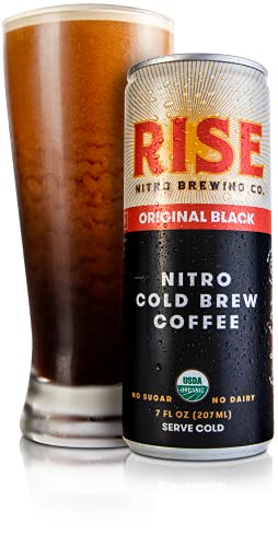 RISE Brewing Co. | Original Black Nitro Cold Brew Coffee | Sugar and Gluten-Free, Vegan | Organic & Non-GMO | Low Acidity | 7 fl. oz. Cans (12 Pack)