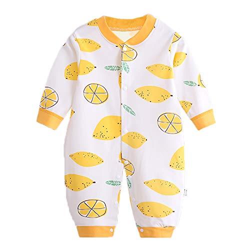 JinBei Pijama Bebé Niñas Pelele Recien Nacido Mameluco Mono Algodon Sleepsuit Mamelucos Manga Larga Caricatura Trajes Pijamas, Estampado de Limón Amarillo 9-12 Meses