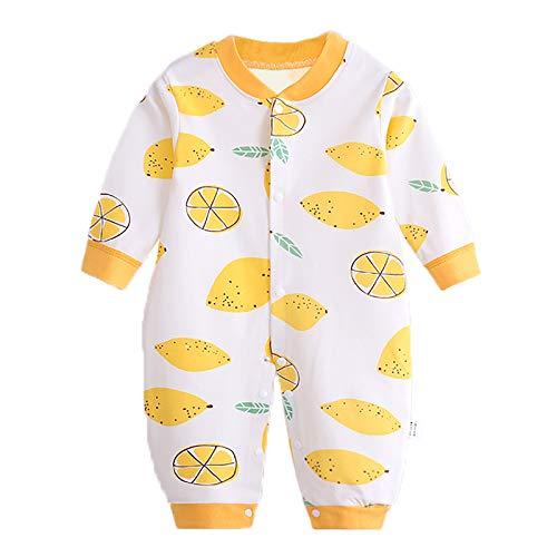 JinBei Pelele Bebé Niñas Mameluco Algodon Pijama Sleepsuit Recien Nacido Mamelucos Manga Larga Mono Caricatura Trajes Pijamas, Estampado de Limón Amarillo 6-9 Meses