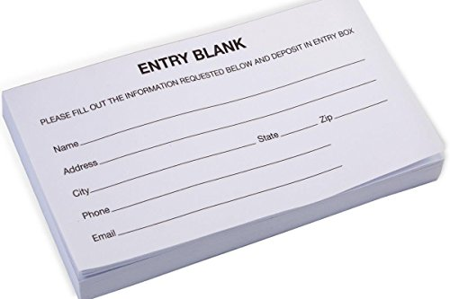 """Entry Form Pads for Raffles, Contests, Drawings; 5.3""""W x 2.8""""W - 1,000 Forms Total"""