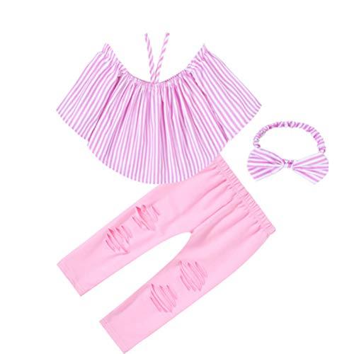 Samgu Ensemble Chemise Rose + Pantalon + Serre-Tête Bébé Fille