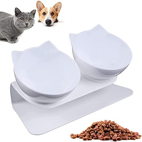 WELLXUNK® Katzen Fressnäpfe, Futternapf Hund, Doppelter Futternapf, 15° Neigbar mit Erhöhtem Ständer - rutschfeste Wassernapf und Futternapf, für Katzen und Hunde (Weiß)