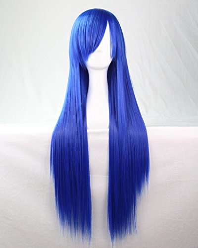 Femmes/Ladies 80cm BLEU MARINE couleur longue Cosplay DROITE/Costume/Anime/Fête/Bangs pleine perruque sexy