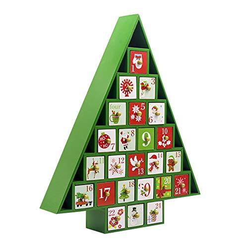 Calendario de Adviento del Árbol de Navidad de madera Cuenta atrás para el Calendario de Adviento de Navidad Decoración de mesa con 24 cajones extraíbles