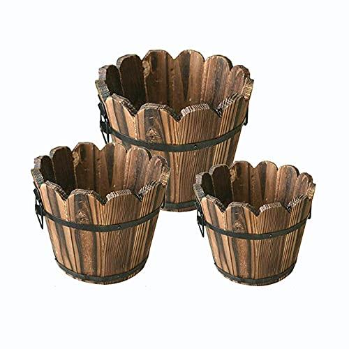 SUFUBAI Paquete de 3 macetas pequeñas de madera para macetas, macetas de madera, mini rústicas para suculentas, barriles de madera, maceta para plantas, decoración interior y exterior