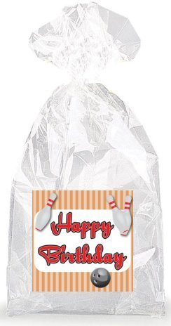 Bowling Happy Birthday Party Favor Bags with Ties - 12pack
