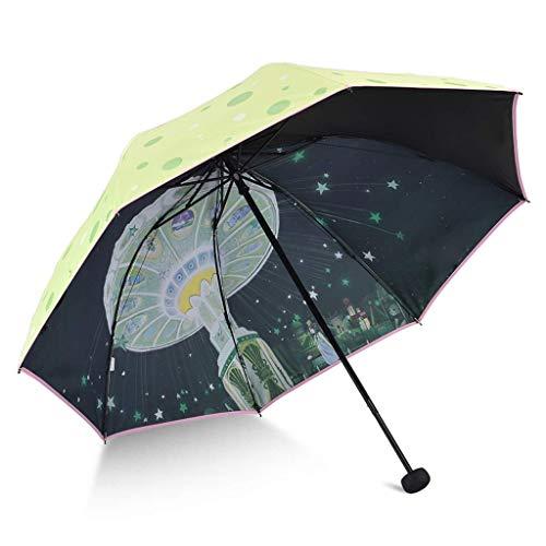 YNHNI Impreso Tres Pliegue, Paraguas, Repelente, Paraguas, protección Solar, conglue, Paraguas de Viaje de Revestimiento UV, Bloqueo UV,Portátil (Color : Green)