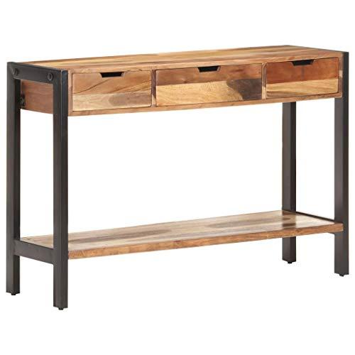 vidaXL Massivholz Sideboard Vintage Retro mit 3 Schubladen Konsolentisch Konsole Beistelltisch Flurtisch Wandtisch 110x35x75cm Palisander-Finish