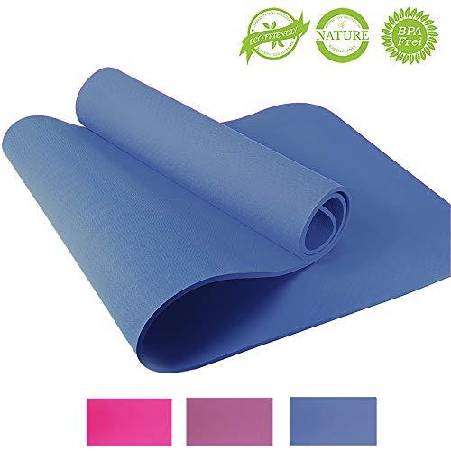 Yogamatte – Yoga Retreat • 6 mm, blau • inkl. Tasche und Trageband • umweltfreundlich • hypoallergen & hautfreundlich • TPE Sportmatte für Yoga, Gymnastik, Pilates & Fitness • rutschfest • 183x61 cm