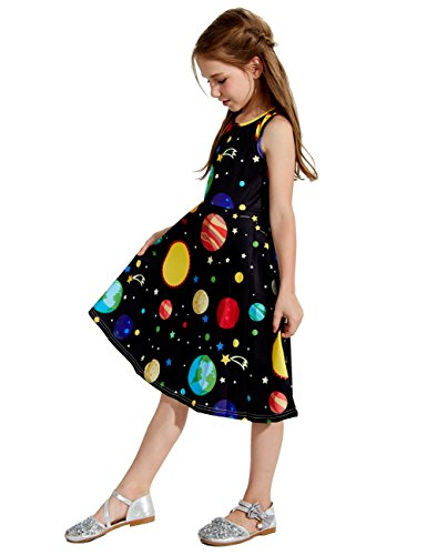 uideazone Little Girls Cute Print Planet Knee Length Sleeveless Dress Black 8-9 Years