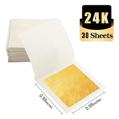 KINNO Echte Blattgold Essbar 24 Karat Goldfolie 2.5 * 2.5cm zum Basteln Lebensmittel Kuchen Backen Torten Dekorfolie Kunsthandwerk 30 Blatt