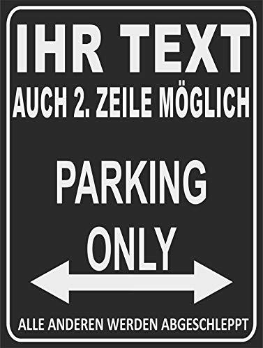 INDIGOS UG - Parking Only - Parkplatzschild - Alle Anderen Werden abgeschleppt - Parkplatzschild 32x24 cm - Alu-Dibond - Individuell personalisiert