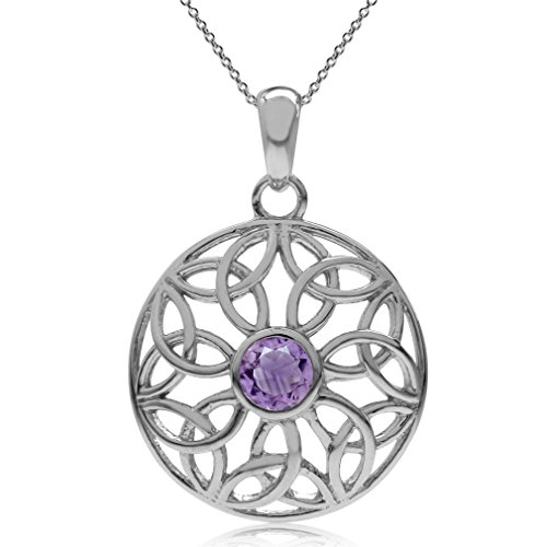 Silvershake Natural Amethyst 925 Sterling Silver Triquetra Celtic Knot Circle Pendant with 18 Inch Chain Necklace