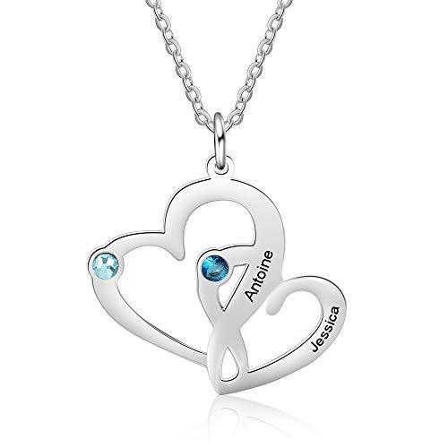 KAULULU Collar Mujer con Nombre Personalizadas Colgante Corazón para Madre con 2 Piedra Nombre Familia Grabado Regalo de Cumpleaños para Niña Joyería Personalizado