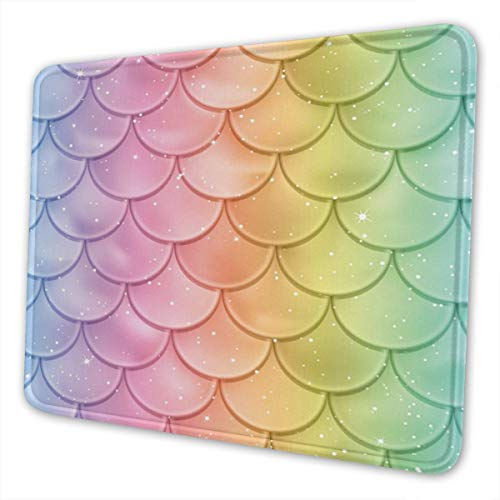 Colorful Mermaid Scales Mouse Pad Cute for Girls Women, Customized Design Mousepad with Stitched Edge Non-Slip Rubber Large Gaming Mouse Pad for Laptop, Computer & Office, 11.8 X 9.8 X 0.12Inches