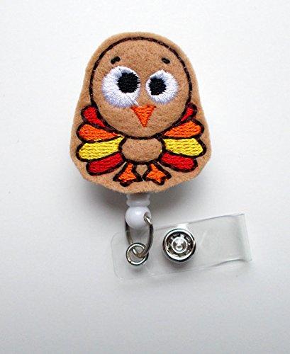 Timmy The Turkey - Retractable ID Badge Reel - Name Badge Holder - Thanksgiving Badge - Nurse Badge Holder - Nursing Badge Clip - Felt Badge