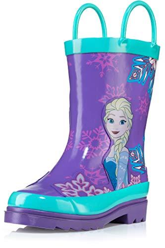 Disney Frozen Girls Anna and Elsa Purple Rain Boots - Size 10 Toddler