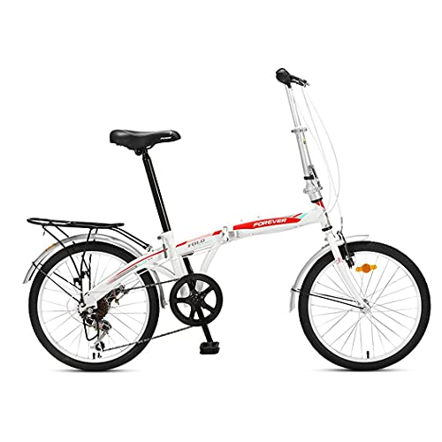 ZHCSYL Bicicleta plegable con freno delantero en V y freno trasero para hombres y mujeres, bicicletas portátiles para adultos, acero de alto carbono de 20 pulgadas, 7 velocidades (color: blanco)