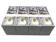 Realistic stacks, double side full printed 100 prop movie money, realistic looking, work for movie, videos, parties, TV and so on Great copy money, It will not pass as real currency and cannot be modified to look exactly like real currency. Movie pro...