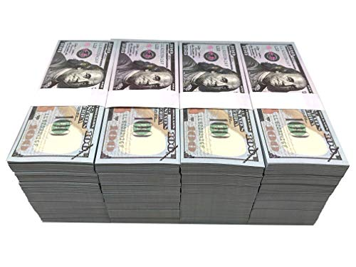 100PCS One Stack 100 Prop Money Full Print 2 Sided Motion Picture Money Face Money Dollar Bills Realistic Money Stacks,Copy Money Play Money That Looks Real for Movie, TV, Videos