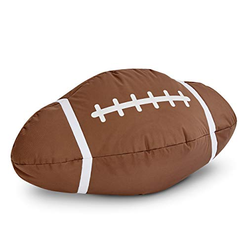 Green Bean © American Football Sitzsack - 300L Füllung - PVC Bezug - Indoor & Outdoor Beanbag - Sitzkissen Bean Bag Bodenkissen Rugby - Gamingstuhl Sessel für Kinder & Erwachsene - Braun/Weiß