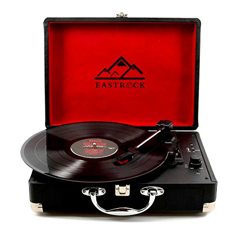 EastRock Plattenspieler Turntable Record Player Bluetooth USB-Stick SD-Karten 3-in-1-Plattenspieler mit AUX-Eingang/Kopfhöreranschluss/Cinch/USB/SD-Karte (Schwarz)
