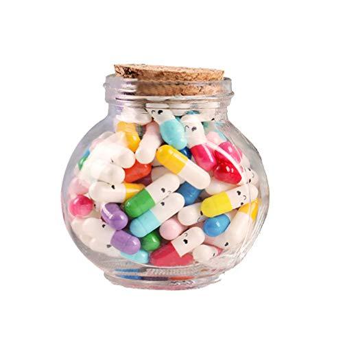 VOSAREA Mensaje de Letras de Cápsula en Un Frasco de Vidrio Botella de Favor Píldora de Medio Color para El Cumpleaños del Día de San Valentín