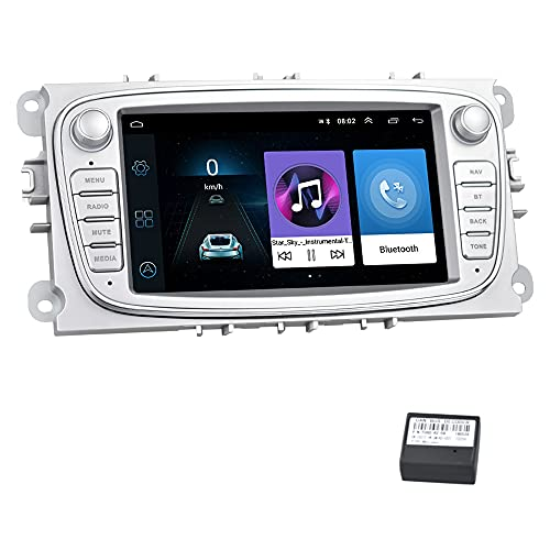 Android Autoradio per Ford GPS Navigatore CAMECHO Touch Screen capacitivo da 7 pollici Autoradio WIFI Bluetooth FM Dual USB per Ford Focus Mondeo C-MAX S-MAX Galaxy II Kuga (Argento)