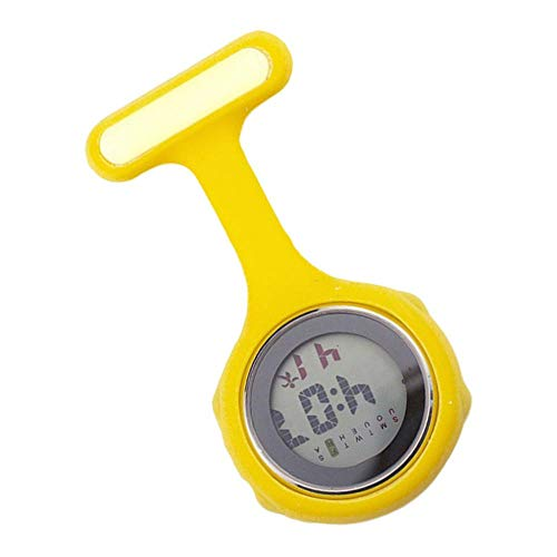 PETSOLA Digitaler Wecker Schwesternuhr wasserdichte Taschenuhr mit Silikonhülle und Anstecknadel - Gelb