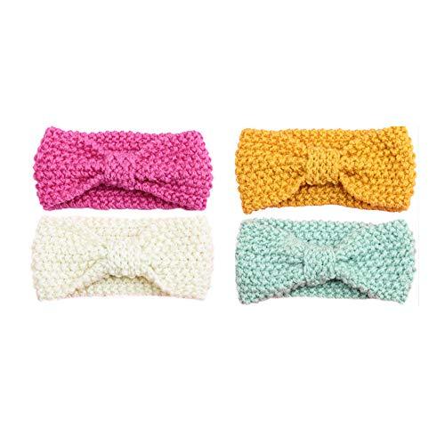 G-Tree 4 Pack Bébé fille Hairband, laine Bandeau bébé en tricot Bandeau tête Wraps Couvre-chef, Turban meilleur cadeau pour bébé Cadeau
