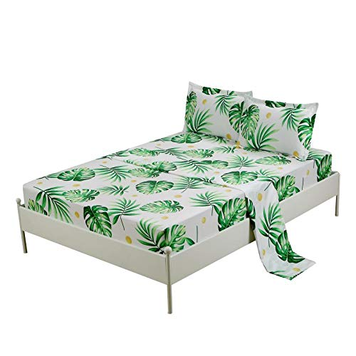 MAG Tropical Palm Tree Fronds Bed Set 4PC Queen Size White Color Banana Tree Leaves Bedding Sheet Sets