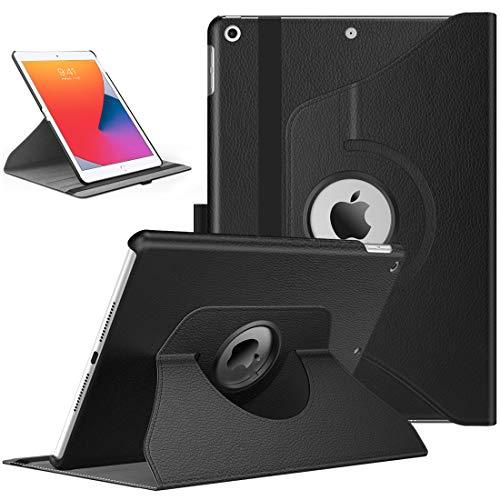 TiMOVO Hülle für Neu iPad 8. Gen 2020/7. Gen 2020 10,2 Zoll, 360 Grad Drehung Schutzhülle, Lederhülle Drehbar Ständer Magnetisch für Auto Schlaf/Wach - Schwarz