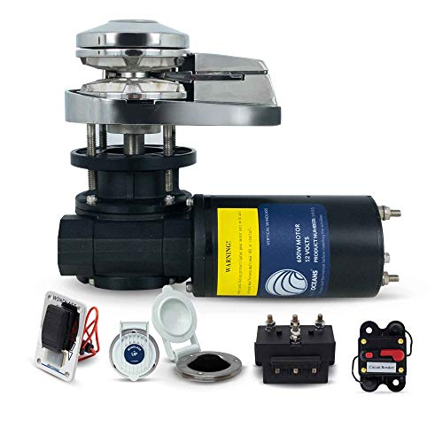 Five Oceans Pacific 600 Vertical Anchor Windlass 600W/1000 lbs - 1/4 inches HT-G4 Chain and 1/2 inches Rope FO-3931-2