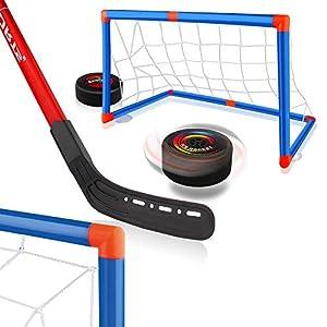 Baztoy Juguete de Hockey Flotante,Pelota de Hockey AéREO Juguetes para Niños 3 4 5 6 7 8 9 10 11 12 Años, Juego Hockey con 2 Porterias y 2 Palos de Hockey, para Regalos Navidad Cumpleaños Juegos