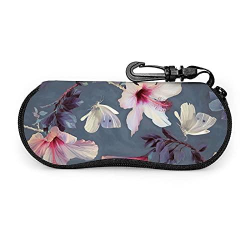 Funda para gafas de sol con diseño de flores y mariposas, funda suave para gafas de sol con cremallera y bolsa de transporte de cristal